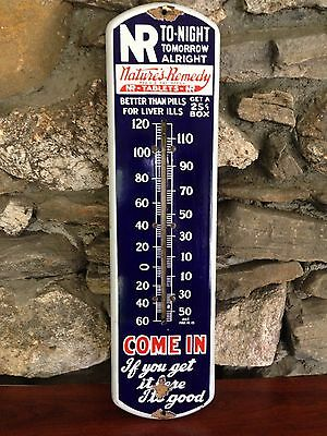 Antique Porcelain Thermometer..Natures Remedy Tablets..Old Country Store