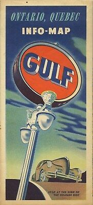 1948 GULF OIL Road Map ONTARIO QUEBEC Montreal Canada Sault Ste. Marie Gaspé