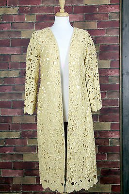 ROYAL DESIGNER SILKY SHEER GOLD BEADED CUT OUT UNUSUAL 3/4SLEEVE CAPE COAT ML