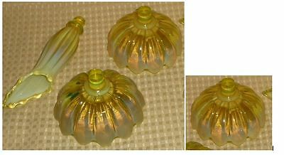 FOSTORIA-VASELINE-YELLOW-OPALESCENT EPERGNE CANDLE BOWLS AND HORNS