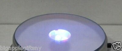 Lot 6 X Round 3D Crystal Glass Trophy Laser 3 LED Light Up Stand Base Display #S