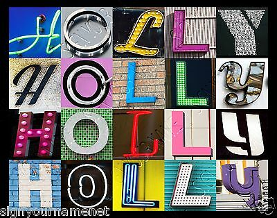 HOLLY Name Poster - photos of sign letters - personalized
