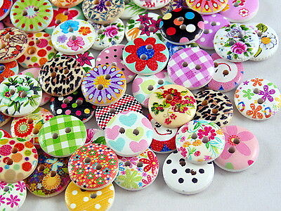 80 x 15mm Mixed Wooden Buttons - Perfect for Scrapbooking, Crafts, Sewing, Cards