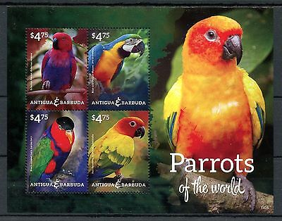 Antigua & Barbuda 2014 MNH Parrots of World 4v M/S I Birds Macaw Parakeet Stamps