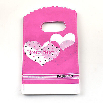 Fashion 50pcs Lovely Heart Pattern Pink Plastic Jewelry Small Gift Bag15*9 cm
