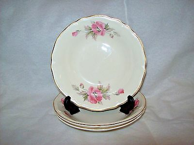 Vintage Edwin M Knowles 3 Dessert Bowls with Pink Flowers Pattern 1657-E1