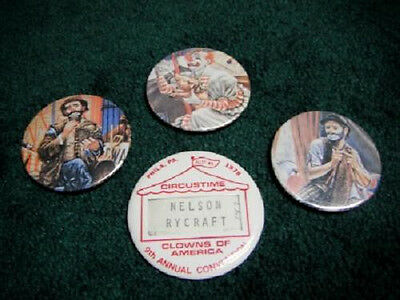 1978 CIRCUSTIME CLOWNS OF AMERICA 9TH CONVENTION BUTTON PIN CIRCUS RYCRAFT