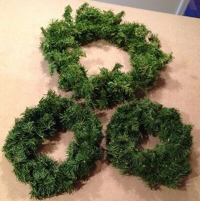 """Set of Three Christmas Wreaths, Ready To Decorate, One 17"""", Two 12"""", Crafts"""