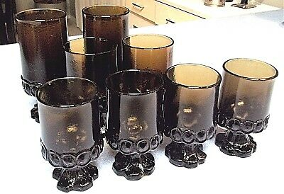 Franciscan Tiffin MADEIRA 8pc Smoke Brown ICED TEA, WATER Glasses, WINE Goblets