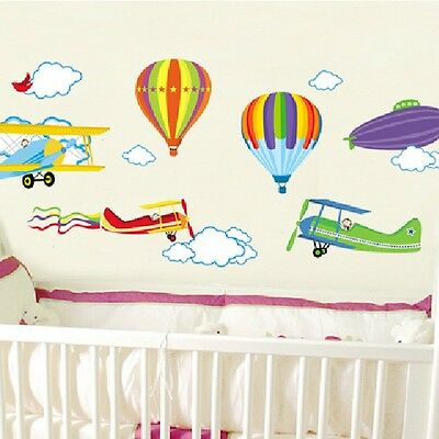 Hot Air Balloon Airplane Clouds Removable Wall Decal Decor Sticker Room Home DIY