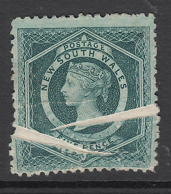 NEW SOUTH WALES 1863 5d Diadem Printed on CREASED ** Paper MINT NO GUM