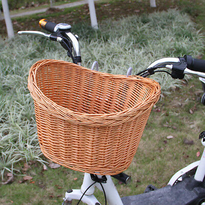 Carrying Up 10kg Willow Wicker Bicycle Basket Uncovered For Pets Flowers Fruits
