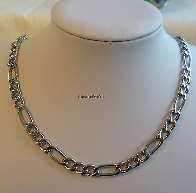 Top QTY 316L stainless steel Silver tone men curb chain necklace L60cm, W7.7mm