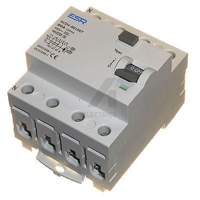 80A 100mA time delay 4 pole RCD trip safety switch RCCB 3 phase 80 amp TP&N new