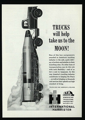 1961 INTERNATIONAL HARVESTER Truck Hauls Moon Rocket - ATA Trucking VINTAGE AD