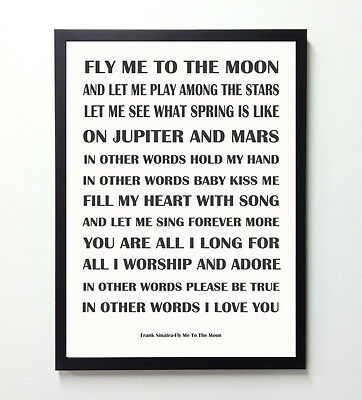 Frank Sinatra,Fly Me To The Moon, Poster,Song Lyrics Typography,Art Print,A4