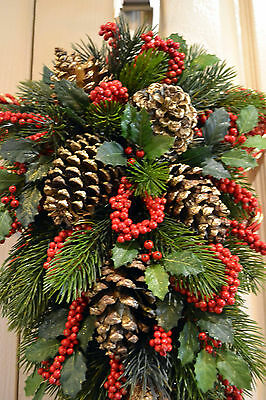 Christmas Door Or Wall Swag - Red,green,gold - Pine & Pine Cones 50Cm Long X 32C