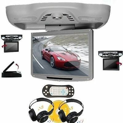 "Car 12.1"" Flip Down Roof Ceiling Monitor Screen DVD Player TV FM USB+2Headphones"