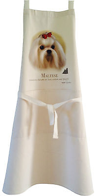 Maltese Dog Natural Cotton Apron Double Pockets Made in UK Baking Cooking Gift