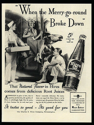 1937 HIRES Root Beer - Merry-Go-Round - Carousel Horse - Man & Woman  VINTAGE AD