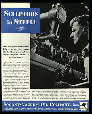 1934 SOCONY-VACUUM Oil - Soluble Products - Mobiloil - VINTAGE AD
