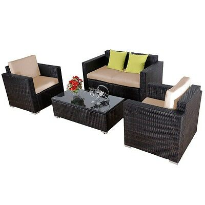 4PC Outdoor Furniture Brown Rattan Sofa Wicker Sectional Patio Set W/Cushions