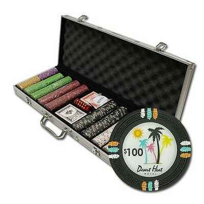 New 500 Desert Heat 13.5g Clay Poker Chips Set with Aluminum Case - Pick Chips!