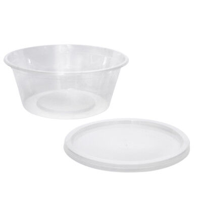 100x Clear Plastic Container with Flat Lid 300mL Round Disposable Rice Dish NEW
