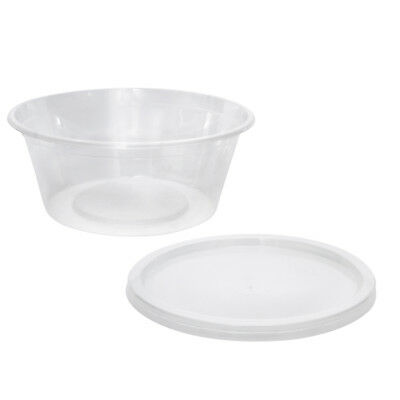 100x Take Away, 300mL, 119x47mm Plastic Container with Lid, Round