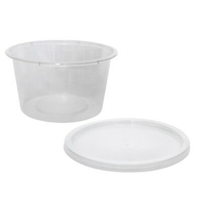 500x Clear Plastic Container with Flat Lid 450mL Round Disposable Rice Dish NEW