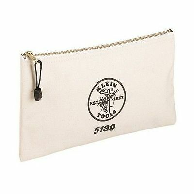 Brand New Klein Tools 22-10527 White Canvas Zippered Bag