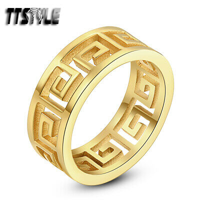 TTstyle 14K Gold GP Stainless Steel Hollow Greek Key Band Ring Size 6-9 NEW