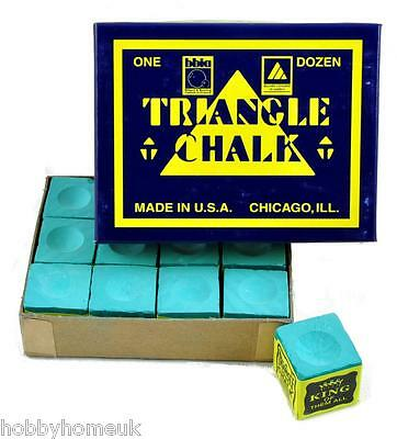 Tweeten Triangle Pool Snooker Billiards Cue Chalk 12 Pieces Green Red Blue