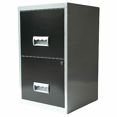 2 Drawer A4 Metal Steel Lockable Filing Draw Cabinet - Black and silver