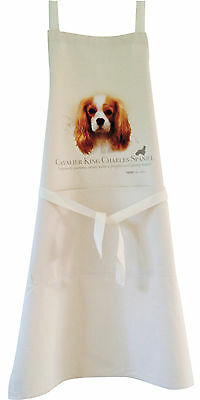 Cavalier King Charles Spaniel Dog Natural Cotton Apron Double Pockets Baker Cook