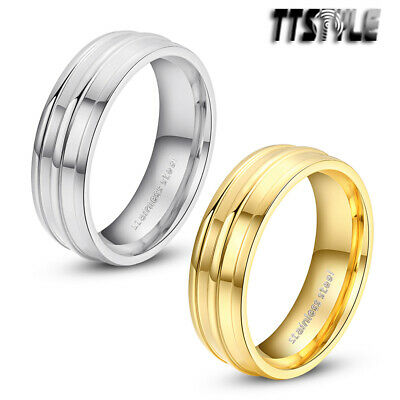TTstyle 6mm Width Stainless Steel Stripe Wedding Band Ring Silver/Gold NEW