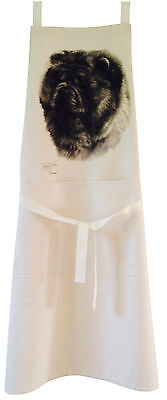 Chow Chow MS Dog Natural Cotton Apron Double Pockets UK Made Baker Cook Gift