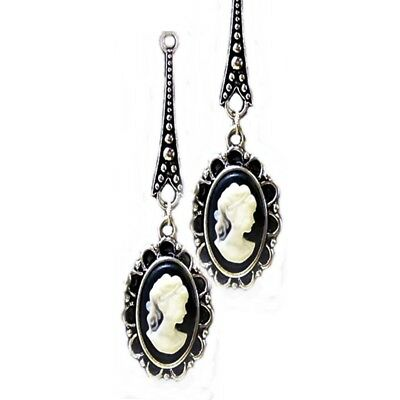 Vintage Style Black Cameo, Tibetan silver long drop earrings- clip on or pierced