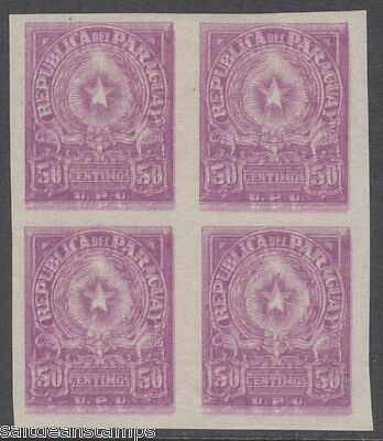 PARAGUAY - 1913 50c. Imperf. Colour Trial - Doubly Printed Blk of 4 MM / MH