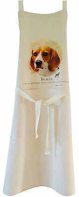 Beagle Dog Natural Cotton Apron Double Pockets Made in UK Baking Cooking Gift