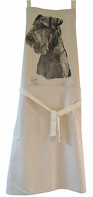Airedale Terrier MS Dog Natural Cotton Apron Double Pockets UK Made Baker Cook