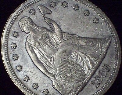 1869 Seated Liberty *SILVER* DOLLAR UNC Detailing - RARE Nice Tone and Rims