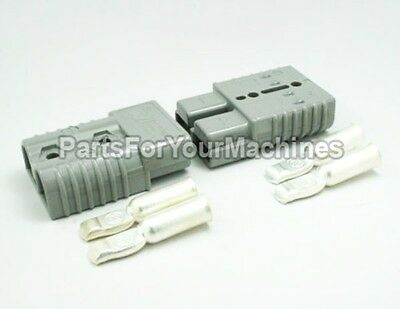 "2 CONNECTORS WITH 1/0 GAUGE CONTACTS, ANDERSON, BIG GRAY, SB175A 600V, 3""x2""x1"""