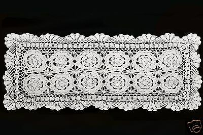 "30""12"" Vintage Crochet Lace Doilies Placemat Table Runner Off White Hand-Made"