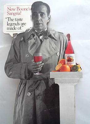Humphrey Bogart  Carboard  Stand UP BOONE'S SANGRIA  Advertisement  RARE