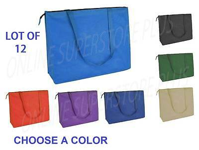 """DALIX 20"""" Extra Large Top Zipper Reuseable Shopping Grocery Tote Bag 12PACK BULK"""