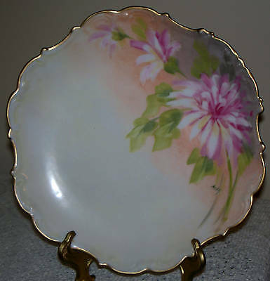 Antique Flambeau Limoges France Plate Charger signed Max, Hand Painted, 10.25""