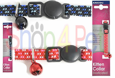 Ancol Designed for Kittens Elasticated Cat Collars with Bell & Snap Away Buckle