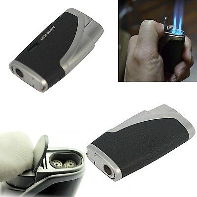 Perfect Jet Flame Windproof Refillable Butane Gas Cigarette Cigar Lighter Black