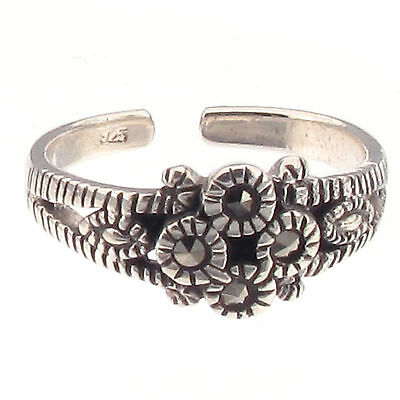 Marcasite Flower Cluster Toe Ring 925 Sterling Silver